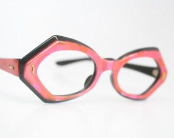 NOS Red Orange cat eye glasses vintage cateye frames eyeglasses