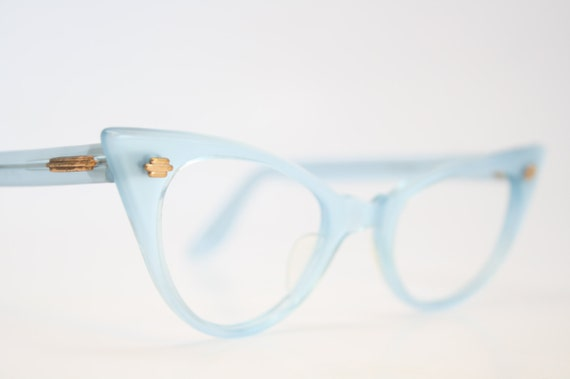 Small Frame Cateye Glasses : Small Blue pointy cat eye glasses small vintage cateye frames