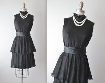 60's Chiffon Dress // Vintage 1960's Black Pleated Chiffon Cocktail Party Dress XS