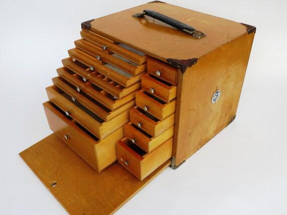 Kit vintage de dentisterie itinérante  14 tiroir caisse en ~ Instrument Caisse En Bois