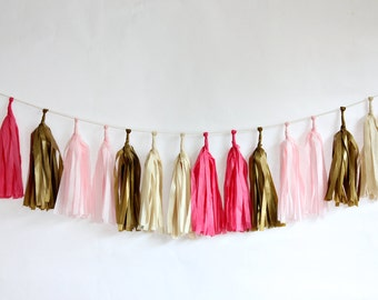 DIY Tassel Garland Kit - Azalea Pink, Blush Pink, Metallic Gold, Off White : Sweetheart