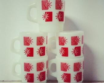 Vintage Fire King Mug Set Of 5 Red Sunburst  Milk Glass 1950's Atomic