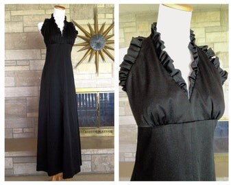 Vintage Black Halter Dress * 1970s Long Formal Gown * Low Back Ruffles * size Small