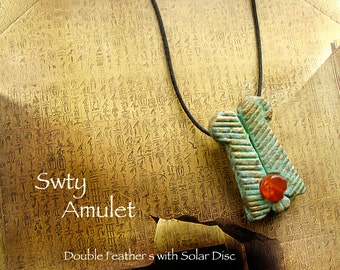 Double Feather and Solar Disc Amulet - Swty - Handcrafted Pendant with Brass Pigment Patina Finish