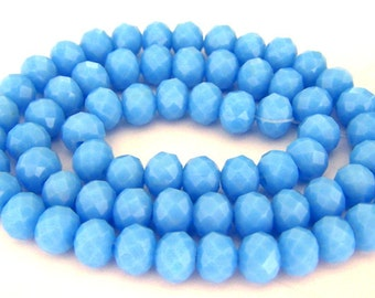 24 cornflower blue beads, 8mm opaque blue Chinese crystal rondelle beads