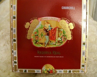 Cigar Box for Crafting - Red Box - Romeo Y Julieta - Reserva Real - Churchill - Empty Craft Box