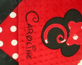 Minky Blanket, Personalized Blanket, Minnie Mouse Minky Blanket, Red Minky Blanket, Embroidered Blanket, Girl Minky Blanket, Baby Blanket,