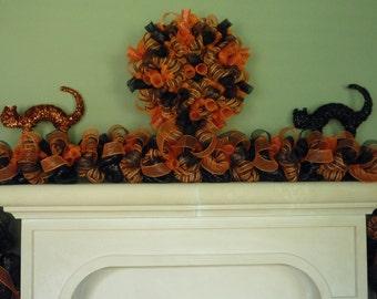 black orange halloween garland deco mesh garland halloween decor 1131 - Deco Mesh Halloween Garland