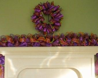 Halloween Garland, Purple Orange Black Lime Green, Door Garland, Mantle Garland, Halloween Door Decor, Item 1129