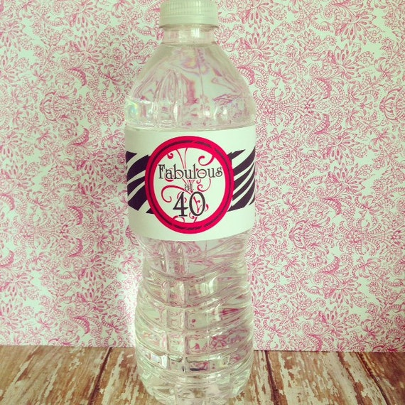 fortieth birthday water bottle stickers, fortieth birthday stickers, 40th birthday party, zebra fortieth birthday stickers, pink black label