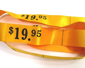 Vintage Ribbon Trim Pricing Embellishment, Yellow Gold, Sewing Supply, Shop Price Tags