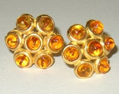 Vintage Signed Deanna Hamro Topaz Amber Glass Clip On Earrings