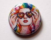 1 inch Pin Back Button - Rainbow Colorful Pop Art Tattooed PinUp Girl Art Accessory - Sweet Heart