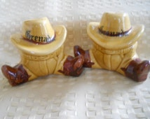 Cowboy Salt and Pepper Shakers - Vintage, Collectible, Souvenir