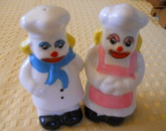 Baker Clown Salt and Pepper Shakers - Vintage, Collectible