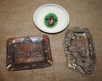 Ashtrays - set of 3 - Boy Scouts - Illinois - Silver Dollar City