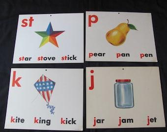 Old School Large Flash Card Print - Vowels Consonants - Choice of Pear Star Kite Jar
