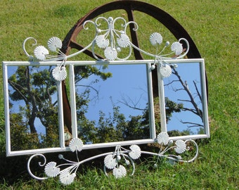 Shabby Chic, Wall Mirror, 3 Section Chalkboard, Or Wall Mirror, Shown in  Country White, or Choose Color, 39 inches wide