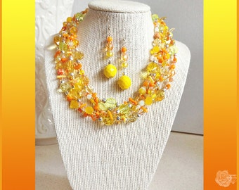 """96"""" Wrap Necklace, Yellow and Peach Aventurine Quartz Czech Crystals Glass, Branch Coral Pearl Pewter And/Or Silver Long Dangle Earrings"""