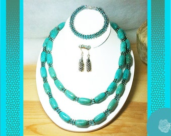 "20-21"" Turquoise Barrels Aquamarine Crystal Rondels Pewter Spacers Necklace 7.5"" Bracelet Earrings 3Piece Set Sterling Silver Buy Separately"