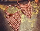 Khaleesi - 10g Copper and Chain maille Hoop Dangles - Earrings for Stretched Lobes - Gauges