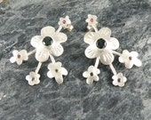 Tourmaline Earrings Spring Blossom , Sterling Silver Flowers Earrings , Silver Post Earrings with Green Tourmaline , Tourmaline Jewelry