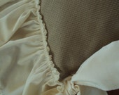"""Rustic KHAKI  Fabric Chair  Seat  Cover Antique White Ruffled Edge  Bow Ties - 18 x 18"""" Color of Burlap but more durable"""