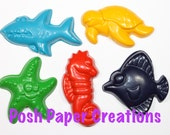 5 Sea creature theme crayons - in cello bag tied with ribbon - choose your colors