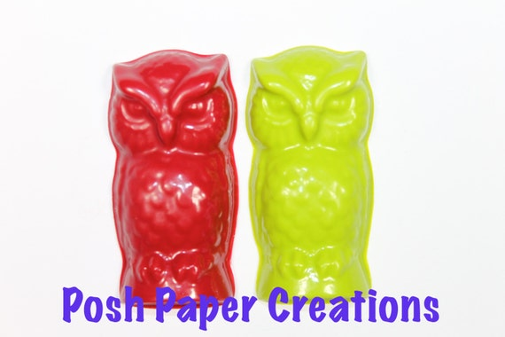 2 owl crayons - in cello bag tied with ribbon