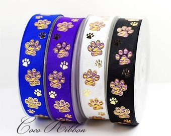 """5, 10 or 25 yards 7/8"""" 22mm Sparkle Gold Tiger Paw Print Cheer Grosgrain Ribbon"""