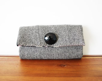 Upcycled Black and Grey Herringbone Wool Trifold Clutch Wallet with Large Black Button