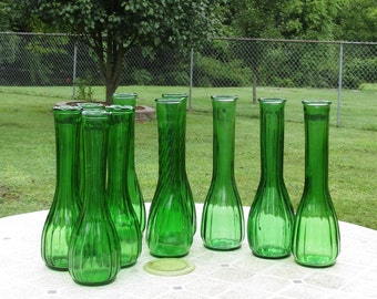 Emerald Green Glass Bud Flower Vases Set of 10 Table Decor Wedding Holiday Table Setting