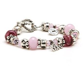 Raspberry Sorbet - pink & silver heart charm bracelet / handmade women's jewelry / fund raising for JDRF