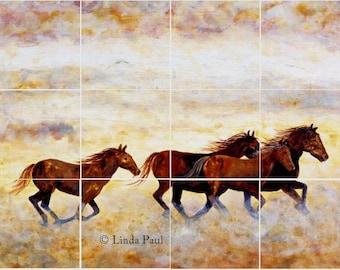 Wild Horses Kitchen Tile  Mural Backsplash Tiles  - Horse Art