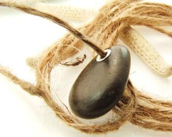 Sterling Silver Riveted Black Beach Stone-Rare Jewelry Supplies-Handmade Bead-Pebble 1 pcs