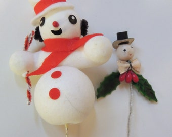 1950s to 1960s two SNOWMAN Ornaments/Package ties