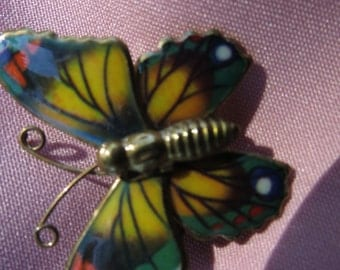 Pretty Foiled Metal Butterfly Brooch in Greens and Yellows
