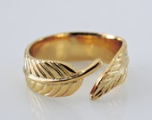 Gold Ring - Feather Ring - Leaf Ring - Adjustable Ring - handmade jewelry