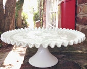 Vintage Fenton Milk Glass Spanish Lace Cake Stand