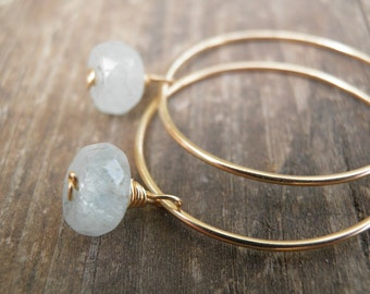 March Birthstone Hoop Earrings, Aquamarine Earrings, Faceted Aquamarine Crystal Blue, Birthstone Earrings, Aquamarine Jewelry, Gift For Her