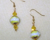 Gold Lampwork Glass Bead Earrings with Glittering Swarovski Crystals