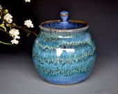 Small blue ceramic stoneware jar B