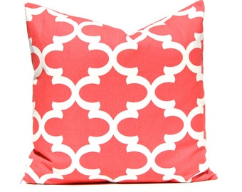 Coral Pillow, Decorative Pillow, Throw Pillow, Coral Pillow, Toss Pillow, Pillow Shams, Accent Pillow Cover One All Sizes Lattice Fynn