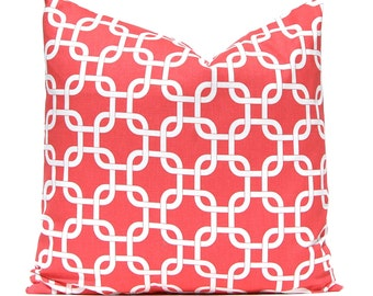 Coral Pillow Covers - Decorative Pillow Covers - Chain Link Pattern on White - Throw Pillow Covers - Coral Cushion Covers - Coral and White