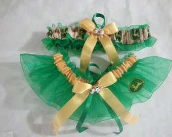 New Wedding Garter set Handmade with John Deere fabric. green ribbon.