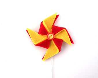 Pinwheel brooch, red and yellow pin wheel jewelry, metal stick pin brooch