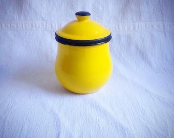 Vintage yellow enamel lidded jar