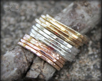 1 STACKING RING - stacking rings, stacking ring, stackable rings, thin stacking rings, thin hammered ring, thin stacking, stackable