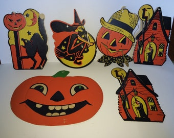 Vintage Paper Pumpkins, Witch, Black Cat and Haunted Houses Hallmark Cards Inc 1983 Halloween Holiday Decor