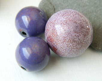 Enameled Beads Set in Purples